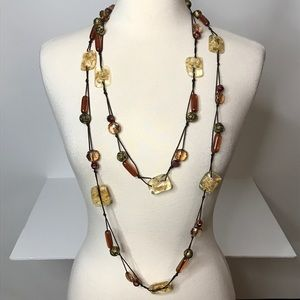 Jewelry - Abstract Floral Plastic Bead Long Strand Necklace